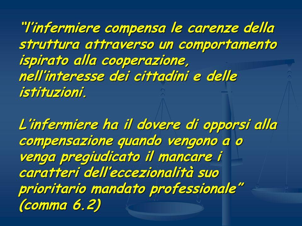 l'infermiere compensa le carenze della struttura attraverso un comportamento ispirato alla cooperazione, nell'interesse dei cittadini e delle istituzioni.