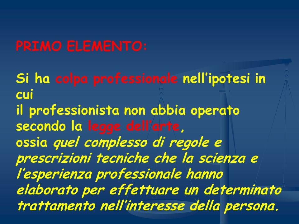 PRIMO ELEMENTO: Si ha colpa professionale nell'ipotesi in cui. il professionista non abbia operato.