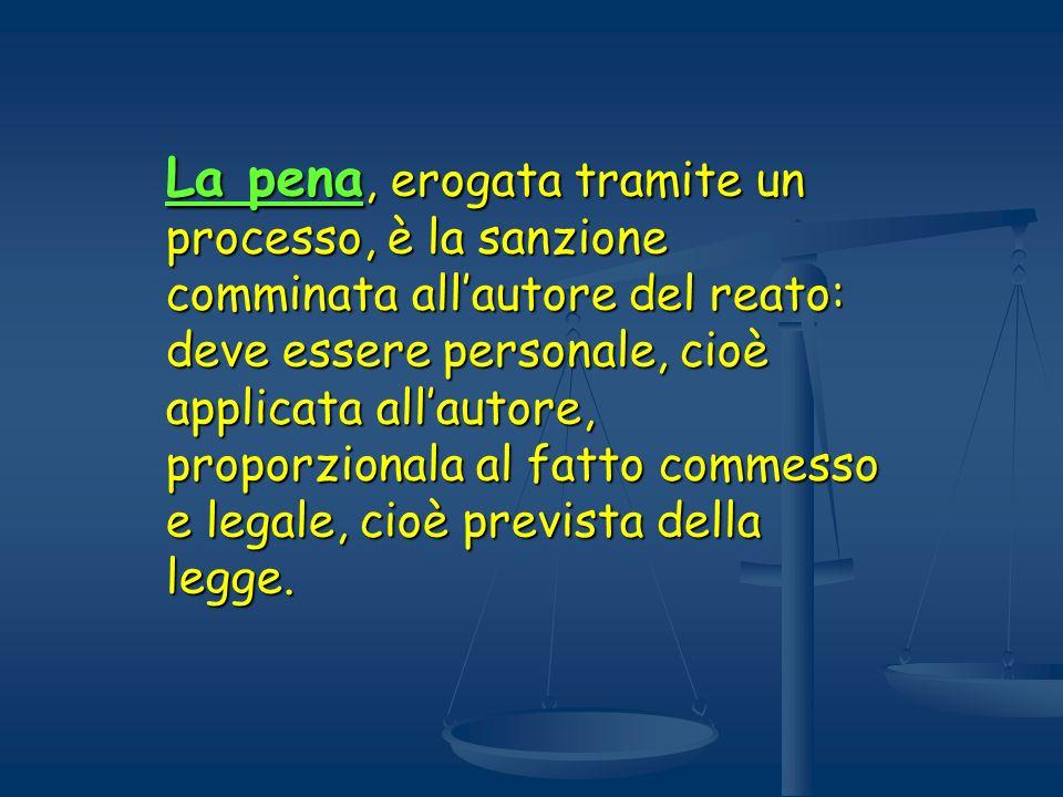 La pena, erogata tramite un processo, è la sanzione comminata all'autore del reato: deve essere personale, cioè applicata all'autore, proporzionala al fatto commesso e legale, cioè prevista della legge.