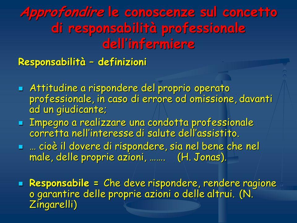 Approfondire le conoscenze sul concetto di responsabilità professionale dell'infermiere