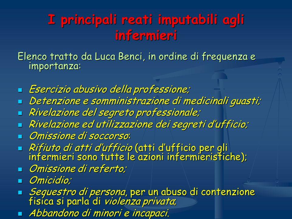 I principali reati imputabili agli infermieri