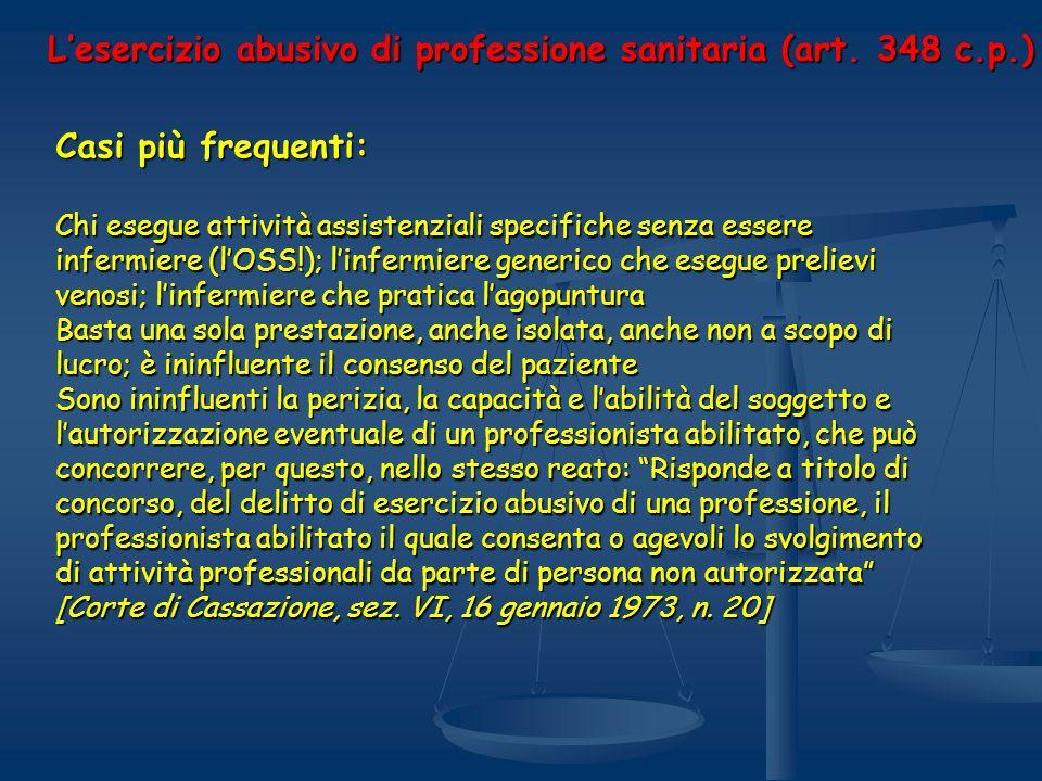 L'esercizio abusivo di professione sanitaria (art. 348 c.p.)