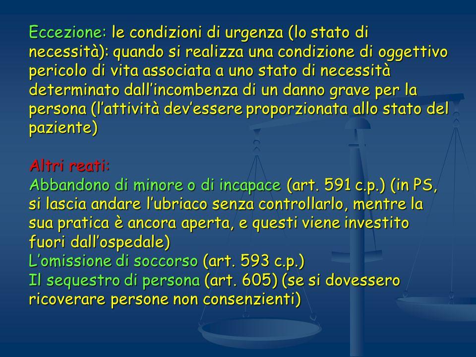 Eccezione: le condizioni di urgenza (lo stato di necessità): quando si realizza una condizione di oggettivo pericolo di vita associata a uno stato di necessità determinato dall'incombenza di un danno grave per la persona (l'attività dev'essere proporzionata allo stato del paziente)