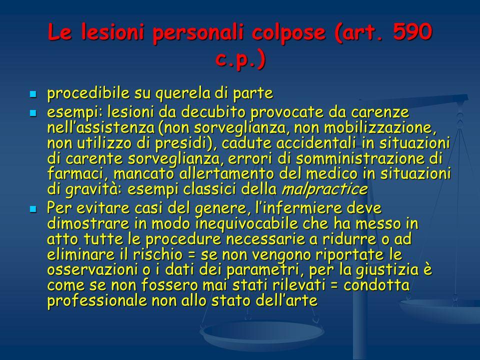 Le lesioni personali colpose (art. 590 c.p.)