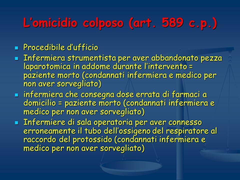 L'omicidio colposo (art. 589 c.p.)