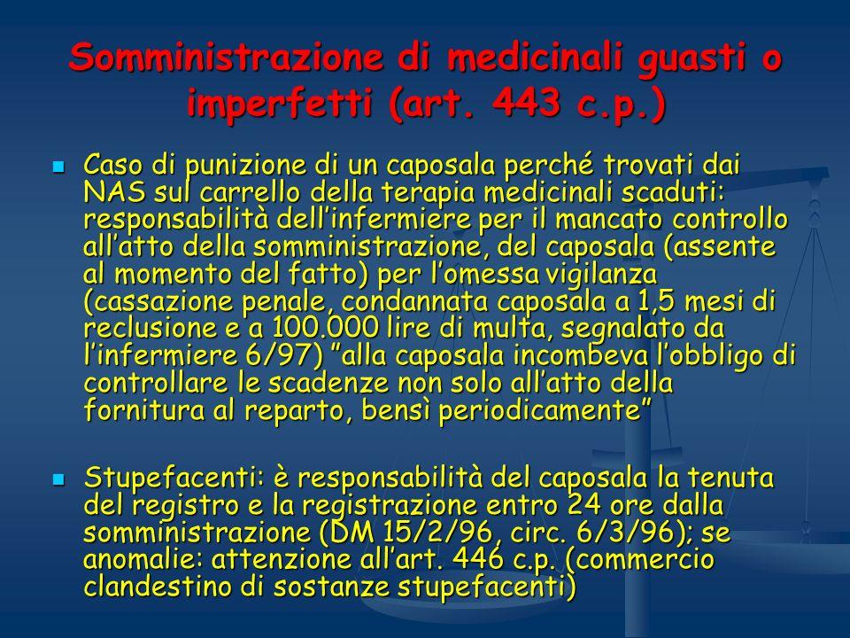 Somministrazione di medicinali guasti o imperfetti (art. 443 c.p.)