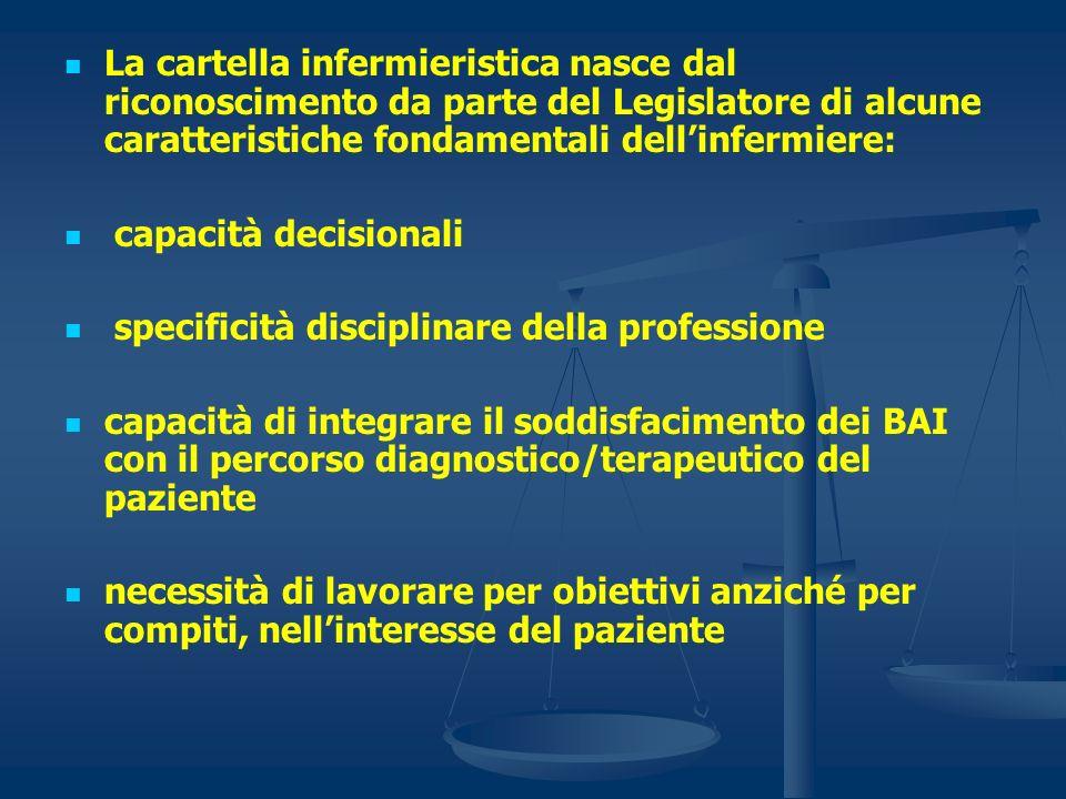La cartella infermieristica nasce dal riconoscimento da parte del Legislatore di alcune caratteristiche fondamentali dell'infermiere: