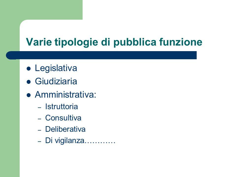 Varie tipologie di pubblica funzione