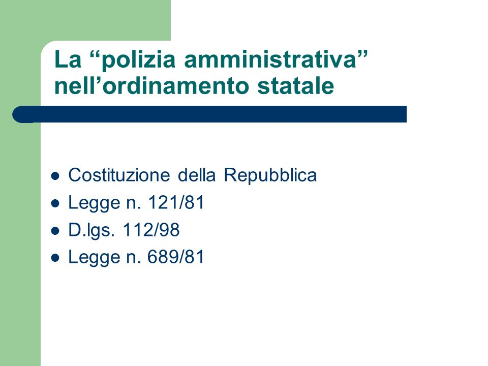 La polizia amministrativa nell'ordinamento statale