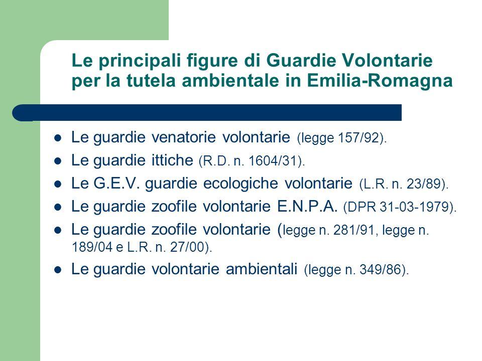 Le principali figure di Guardie Volontarie per la tutela ambientale in Emilia-Romagna