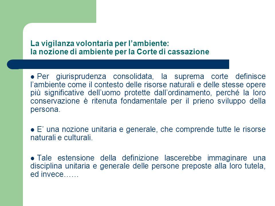 La vigilanza volontaria per l'ambiente: la nozione di ambiente per la Corte di cassazione