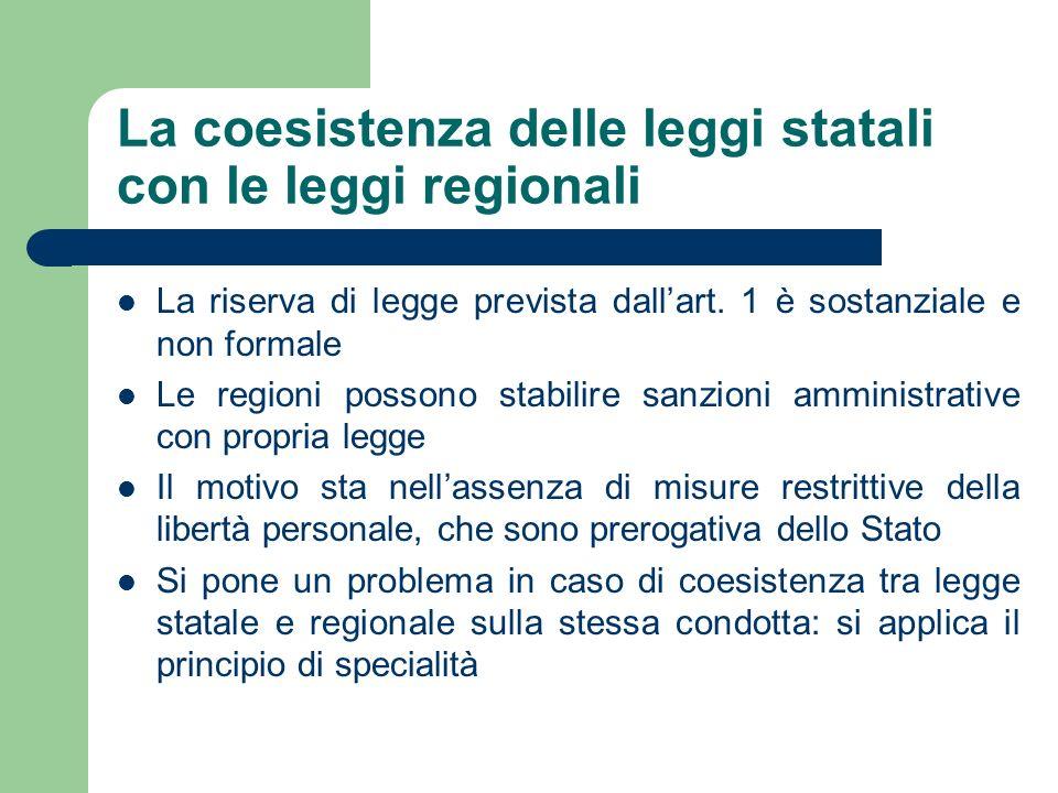 La coesistenza delle leggi statali con le leggi regionali