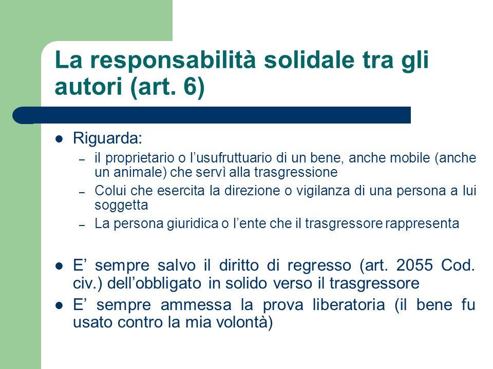 La responsabilità solidale tra gli autori (art. 6)