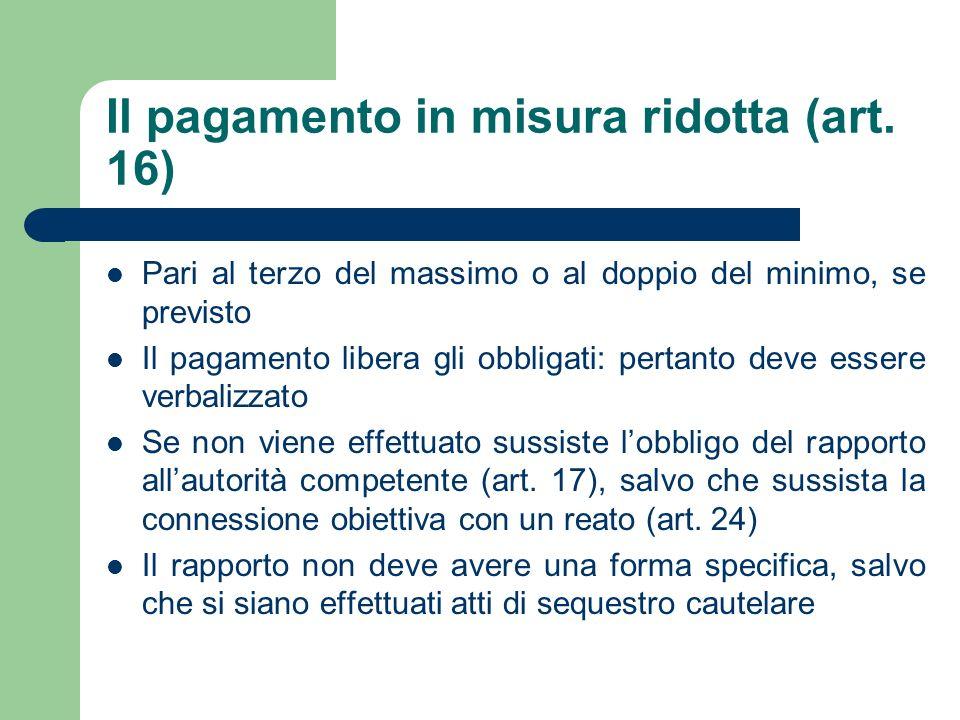 Il pagamento in misura ridotta (art. 16)