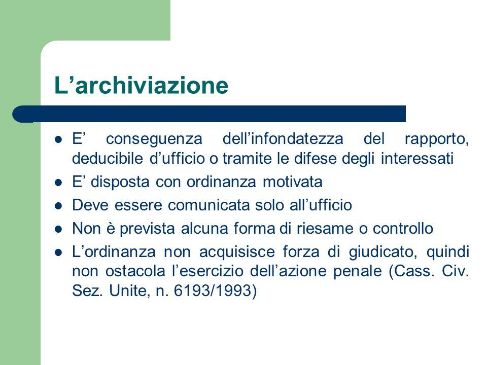 L'archiviazioneE' conseguenza dell'infondatezza del rapporto, deducibile d'ufficio o tramite le difese degli interessati.