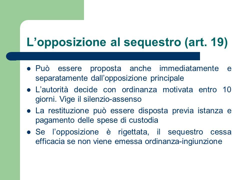 L'opposizione al sequestro (art. 19)