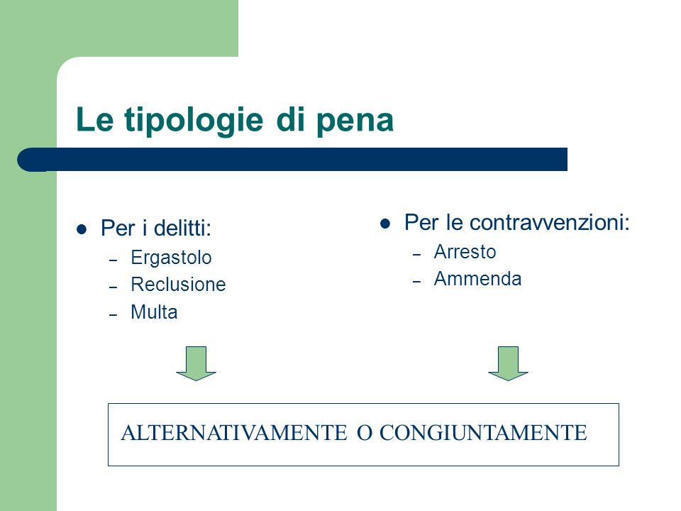 Le tipologie di pena Per le contravvenzioni: Per i delitti: