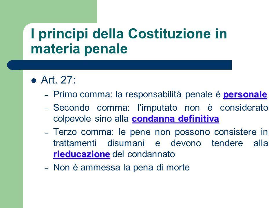 I principi della Costituzione in materia penale