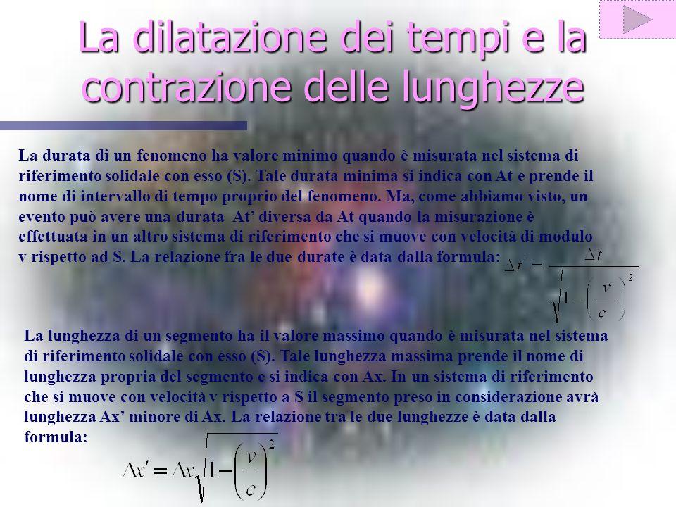La dilatazione dei tempi e la contrazione delle lunghezze