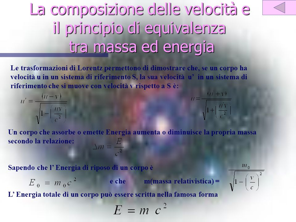 La composizione delle velocità e il principio di equivalenza tra massa ed energia