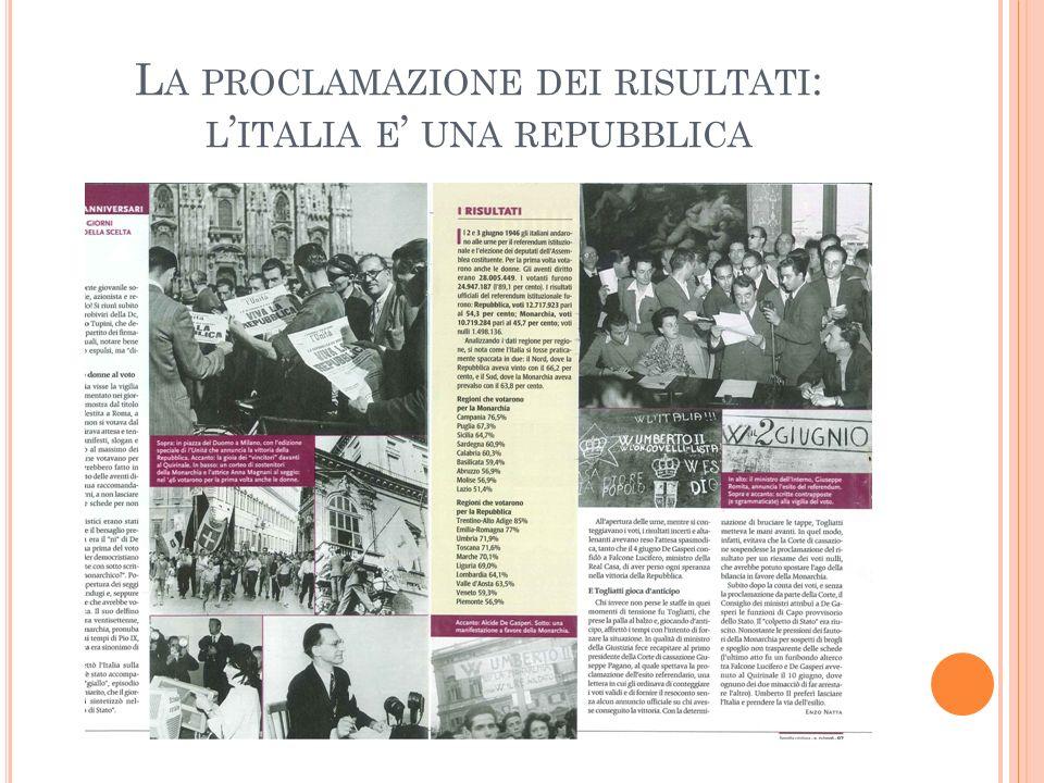La proclamazione dei risultati: l'italia e' una repubblica