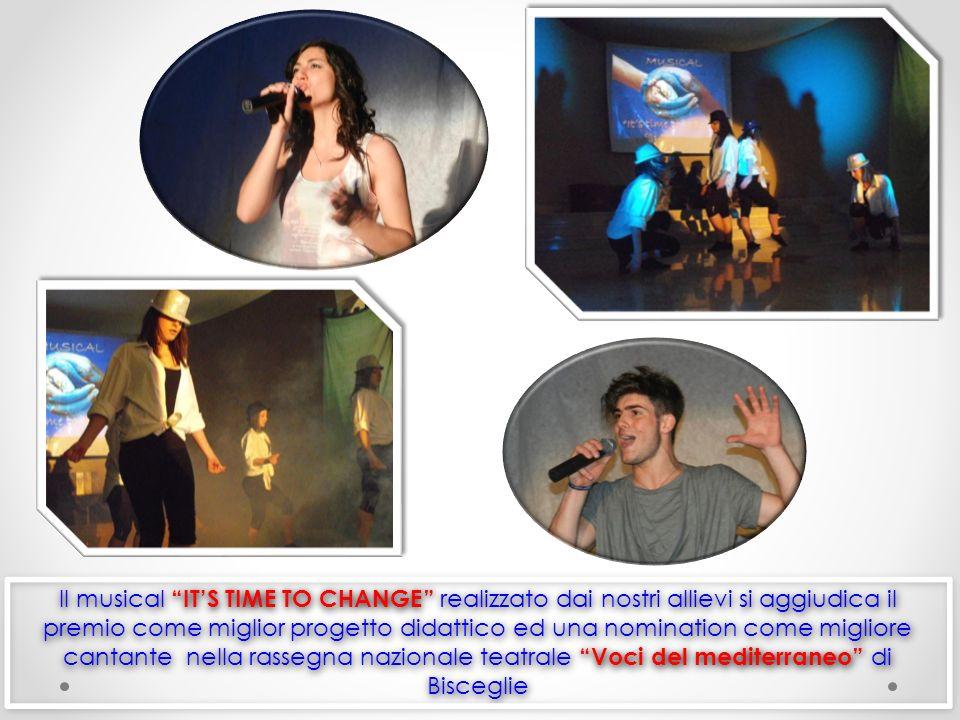 Il musical IT'S TIME TO CHANGE realizzato dai nostri allievi si aggiudica il premio come miglior progetto didattico ed una nomination come migliore cantante nella rassegna nazionale teatrale Voci del mediterraneo di Bisceglie