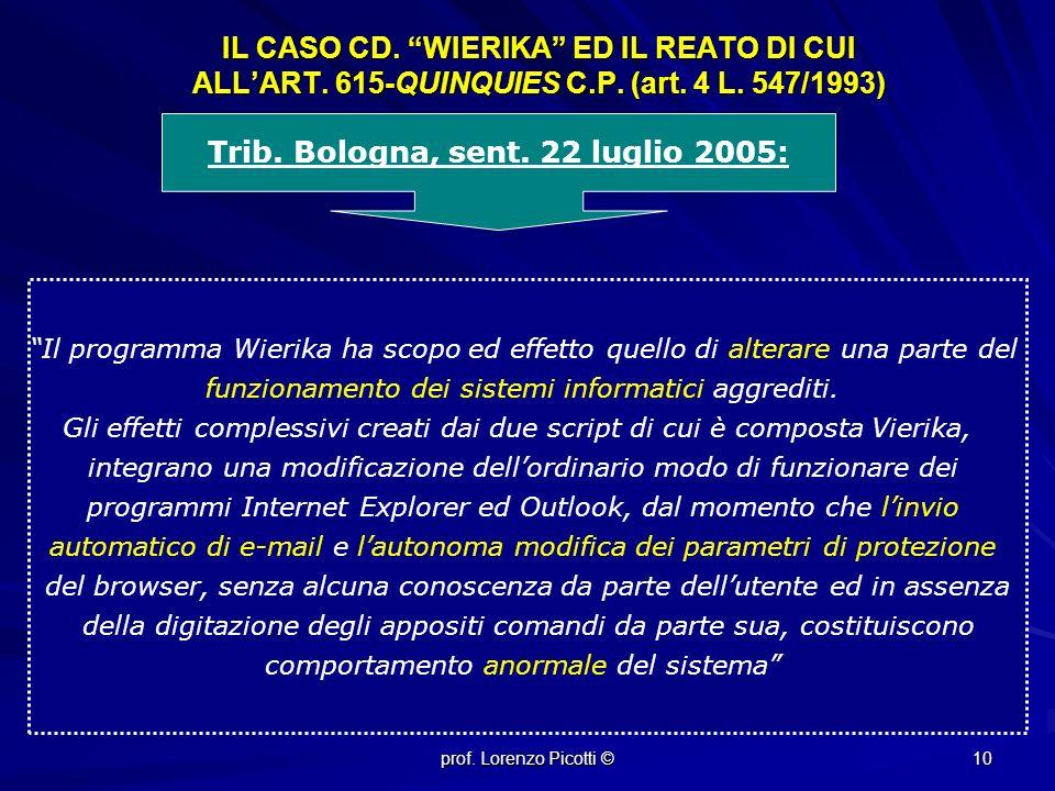 Trib. Bologna, sent. 22 luglio 2005: