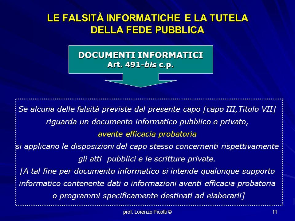 LE FALSITÀ INFORMATICHE E LA TUTELA DELLA FEDE PUBBLICA