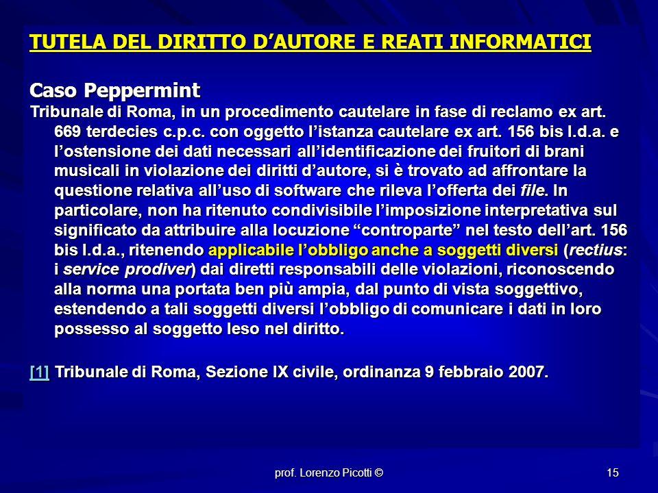 TUTELA DEL DIRITTO D'AUTORE E REATI INFORMATICI Caso Peppermint