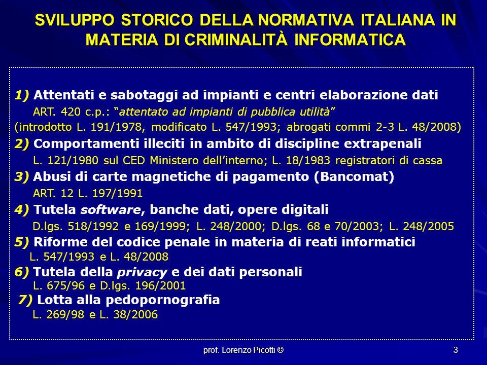 SVILUPPO STORICO DELLA NORMATIVA ITALIANA IN MATERIA DI CRIMINALITÀ INFORMATICA