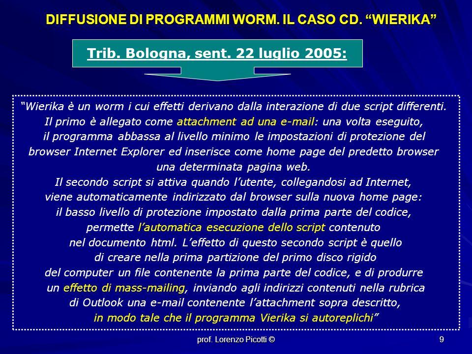 DIFFUSIONE DI PROGRAMMI WORM. IL CASO CD. WIERIKA