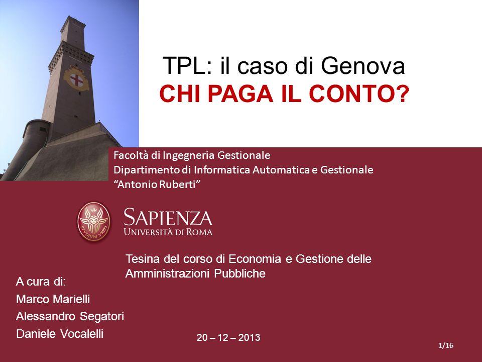 TPL: il caso di Genova CHI PAGA IL CONTO