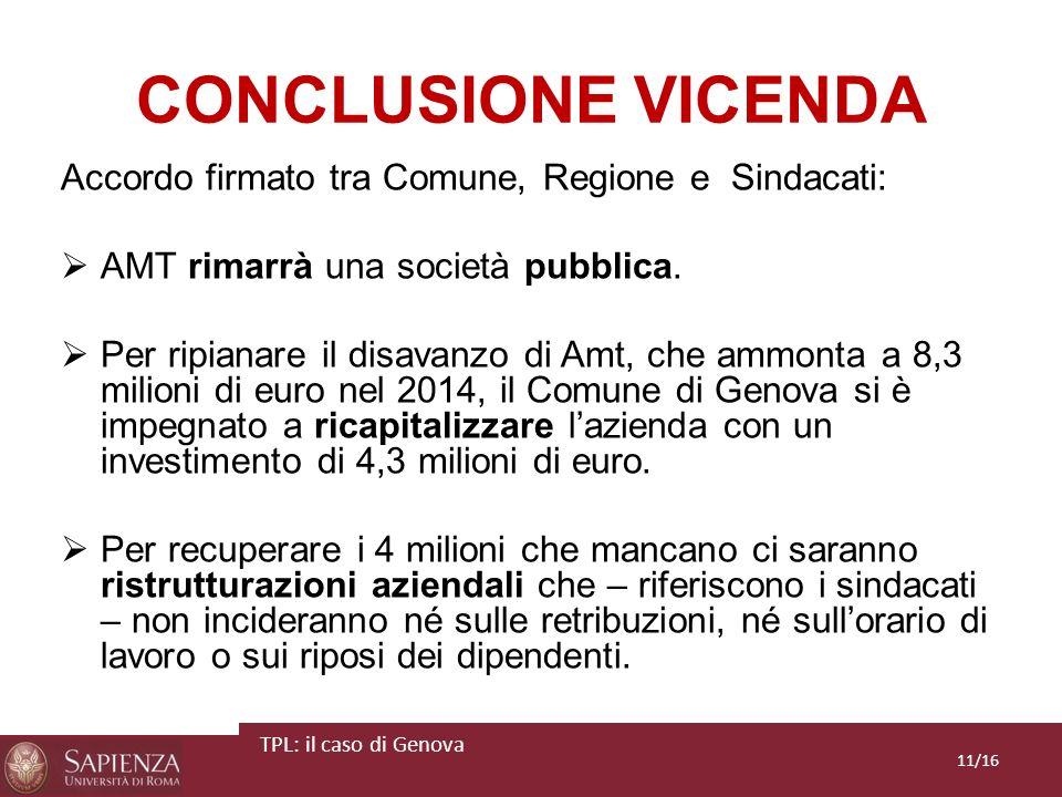 CONCLUSIONE VICENDA Accordo firmato tra Comune, Regione e Sindacati: