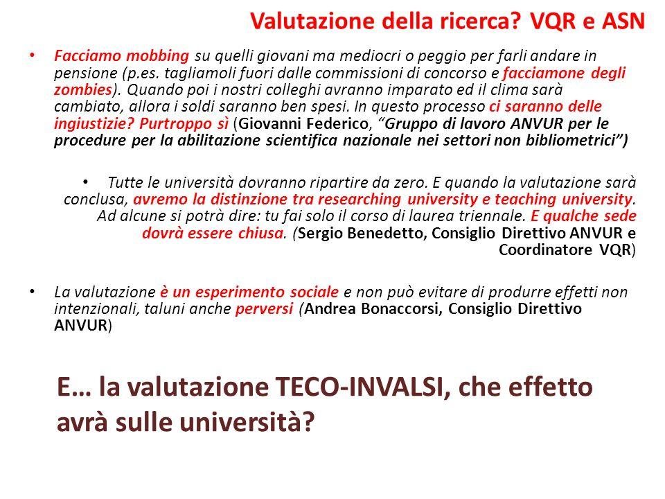 Valutazione della ricerca VQR e ASN