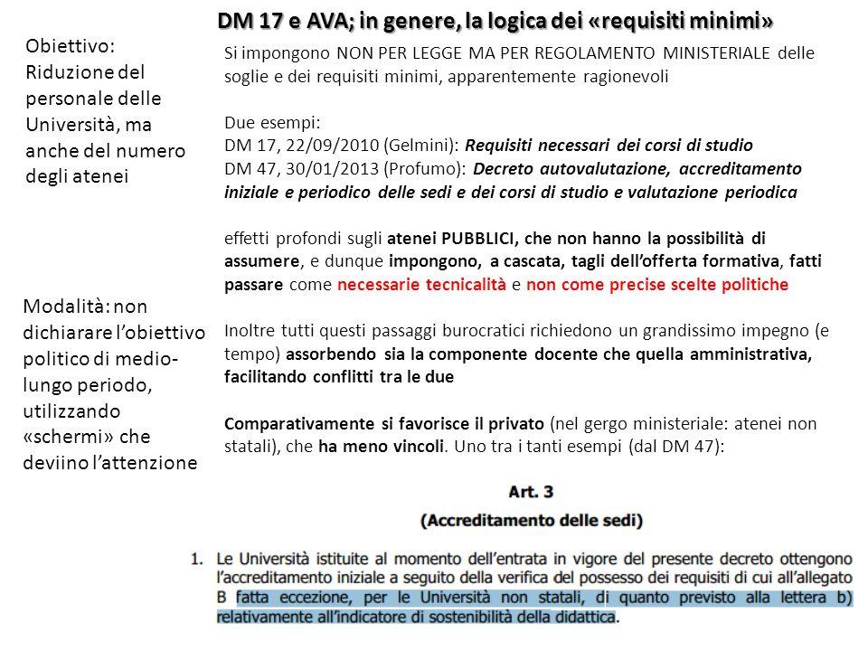 DM 17 e AVA; in genere, la logica dei «requisiti minimi»