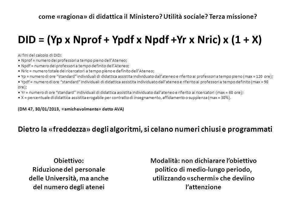 DID = (Yp x Nprof + Ypdf x Npdf +Yr x Nric) x (1 + X)