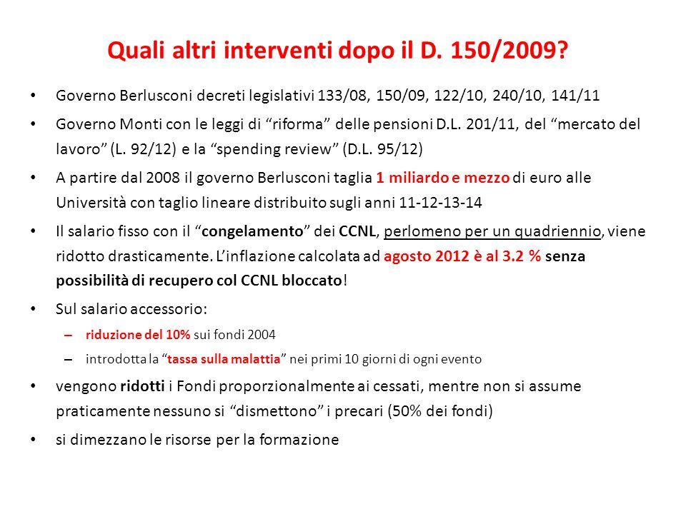 Quali altri interventi dopo il D. 150/2009