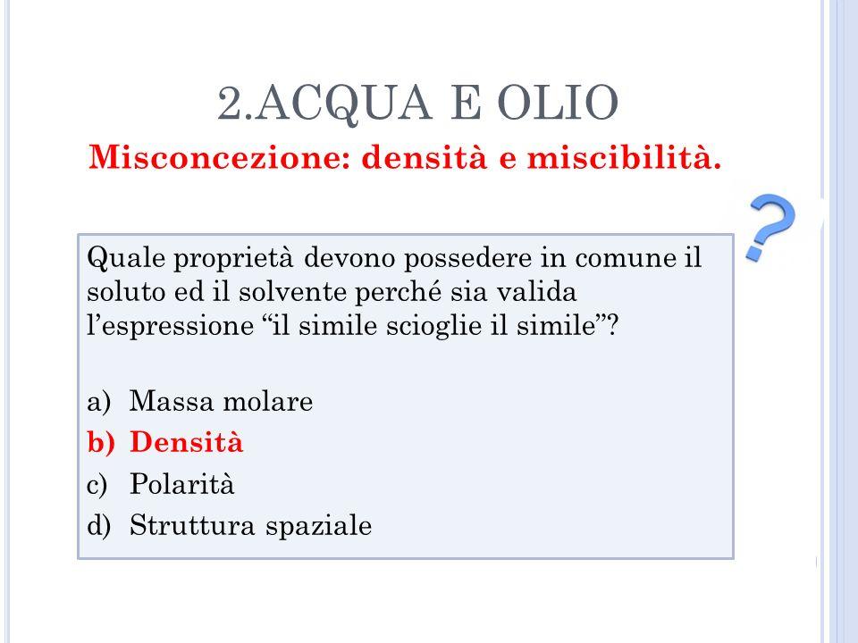 Misconcezione: densità e miscibilità.