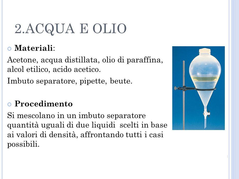 2.ACQUA E OLIO Materiali: