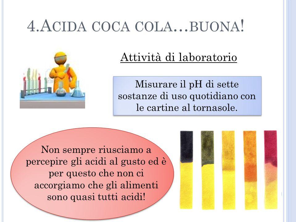 4.Acida coca cola…buona! Attività di laboratorio