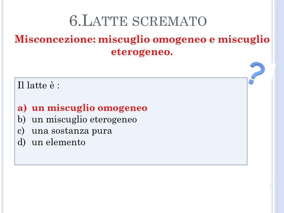 Misconcezione: miscuglio omogeneo e miscuglio eterogeneo.