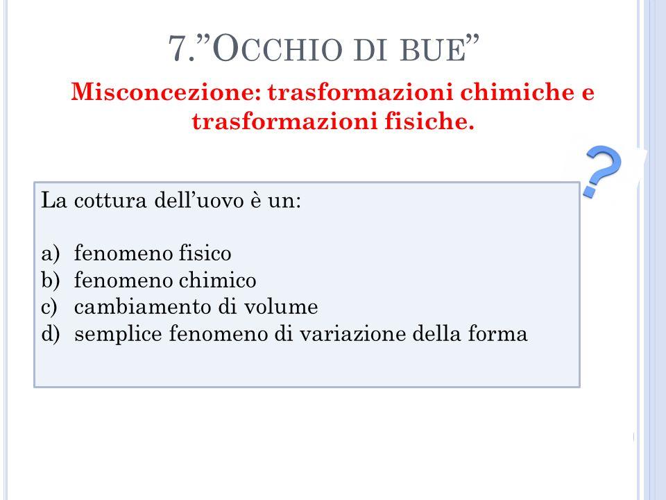 Misconcezione: trasformazioni chimiche e trasformazioni fisiche.