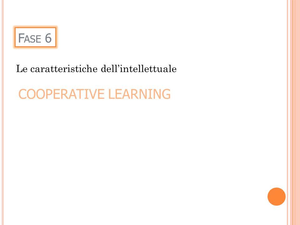 Fase 6 Le caratteristiche dell'intellettuale COOPERATIVE LEARNING