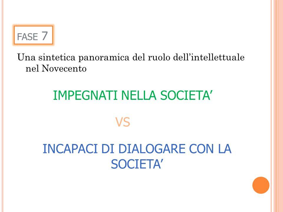 INCAPACI DI DIALOGARE CON LA SOCIETA'