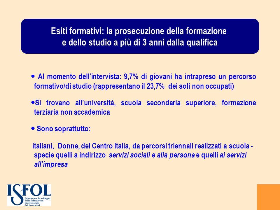 Esiti formativi: la prosecuzione della formazione e dello studio a più di 3 anni dalla qualifica