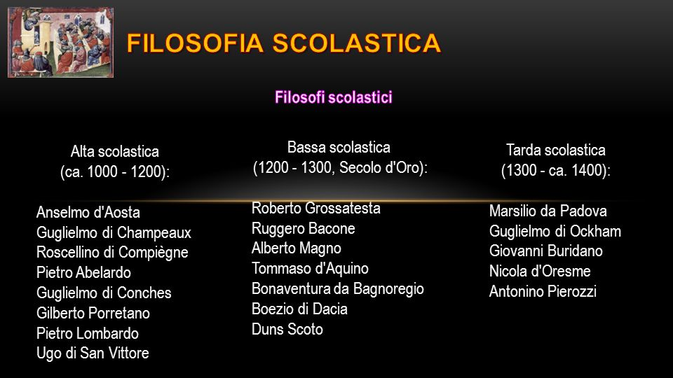 FILOSOFIA SCOLASTICA Filosofi scolastici Bassa scolastica