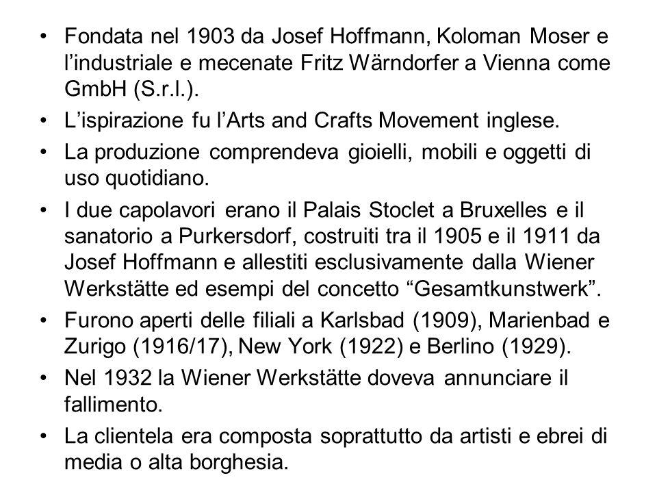 Fondata nel 1903 da Josef Hoffmann, Koloman Moser e l'industriale e mecenate Fritz Wärndorfer a Vienna come GmbH (S.r.l.).