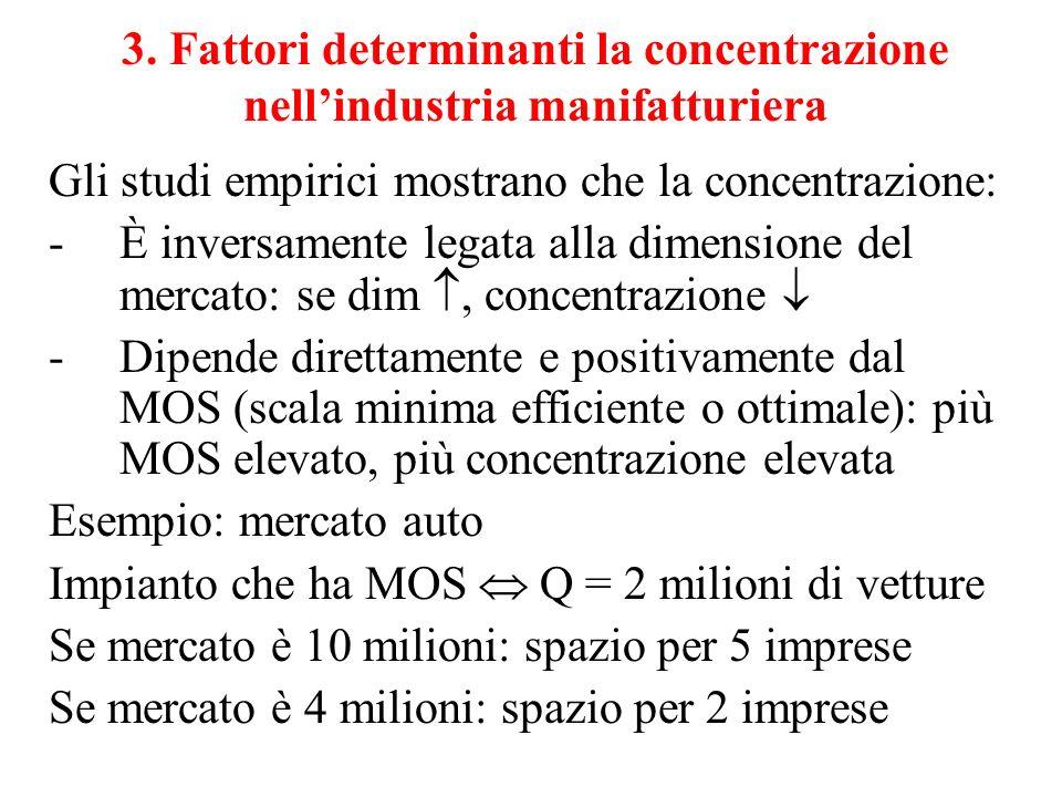 3. Fattori determinanti la concentrazione nell'industria manifatturiera
