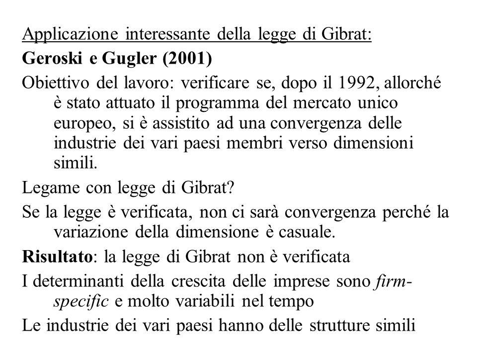 Applicazione interessante della legge di Gibrat: