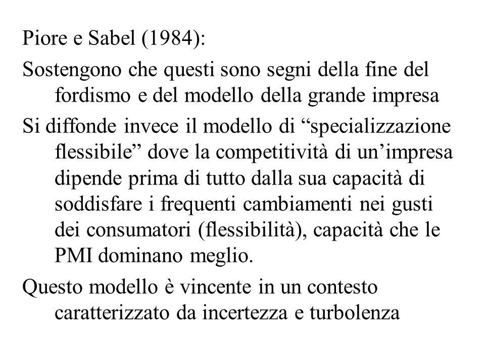 Piore e Sabel (1984): Sostengono che questi sono segni della fine del fordismo e del modello della grande impresa.